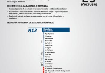 La línea N12 incorpora tramos a demanda a su paso por Sant Feliu